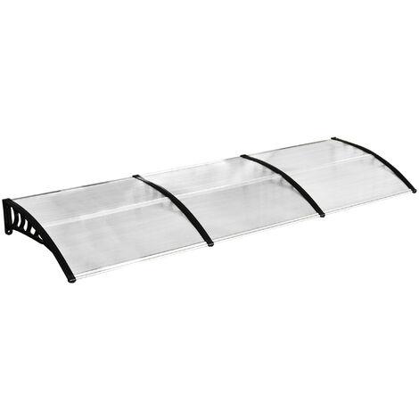 Marquesina para Puerta contra Sol y Lluvia 295x90x25 Transparente Tejadillo de Protección - Transparente y negro
