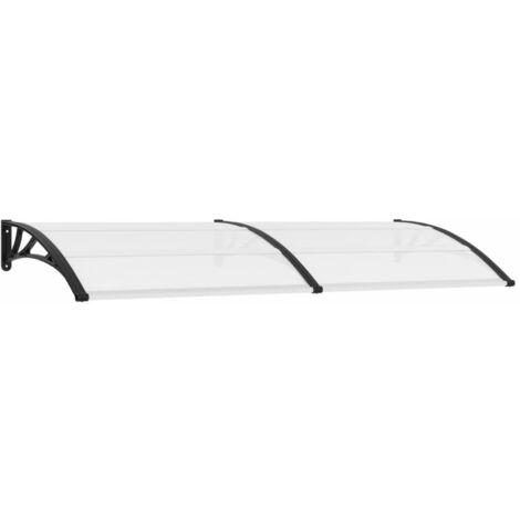 Marquesina para puerta PC negro y transparente 240x80 cm