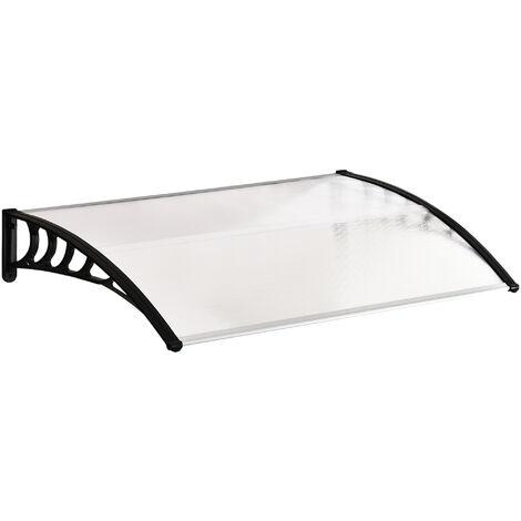 Marquesina para Puerta Ventanas 150x90x25cm contra Sol y Lluvia Tejadillo de Protección - Transparente y negro