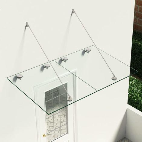 Marquesina para puerta vidrio de seguridad VSG acero 150x90 cm