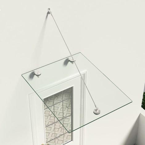 Marquesina para puerta vidrio de seguridad VSG acero 90x75 cm