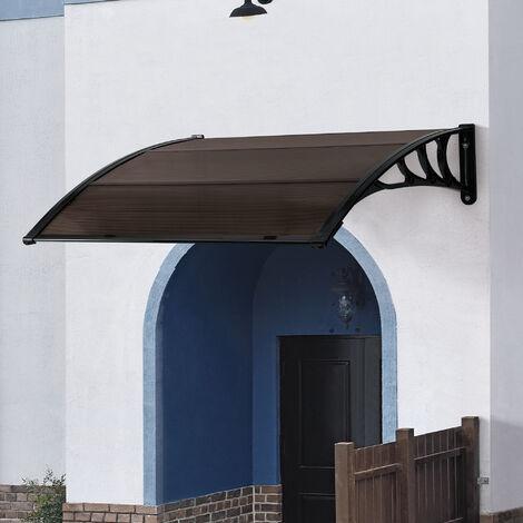Marquesina para Puertas - 120 x 100 cm - Tejadillo de Protección de ABS - Techo para Jardín Terraza Patio Balcón - Parasoles - Sombrilla Exterior - Negro y Marrón