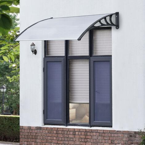 Marquesina para Puertas - 150 x 100 cm - Tejadillo de Protección de ABS - Techo para Jardín Terraza Patio Balcón - Parasoles - Sombrilla Exterior - Negro y Transparente