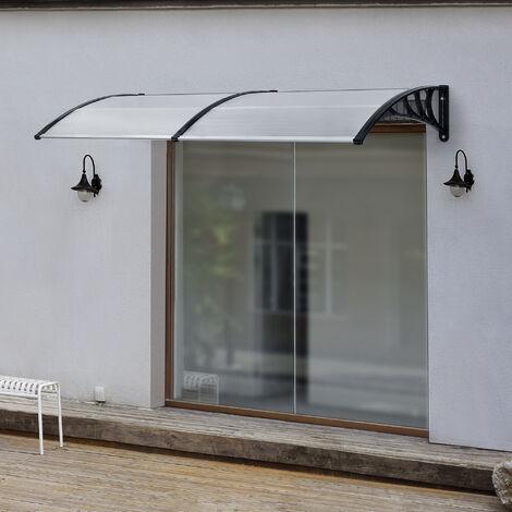 Marquesina para Puertas - 240 x 100 cm - Tejadillo de Protección de ABS - Techo para Jardín Terraza Patio Balcón - Parasoles - Sombrilla Exterior - Negro y Transparente