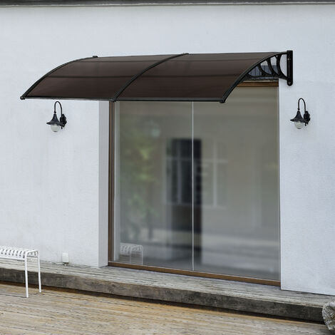 Marquesina para Puertas - 300 x 100 cm - Tejadillo de Protección de ABS - Techo para Jardín Terraza Patio Balcón - Parasoles - Sombrilla Exterior - Negro y Marrón