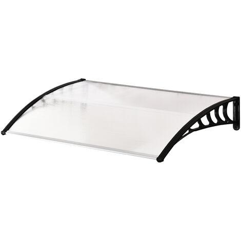 Marquesina para Puertas Ventanas 120x90x25 cm contra Sol y Lluvia Tejadillo de Protección - Transparente y negro