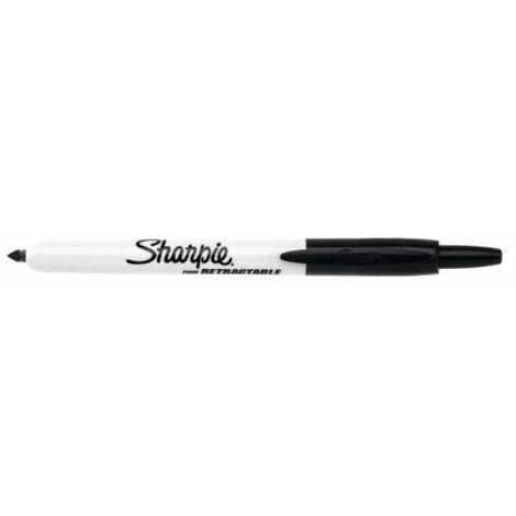 Marqueur permanent Sharpie® RT rétractable pointe fine 1mm coloris noir