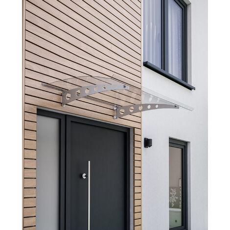 Marquise auvent de porte, 140 x 90 cm, Sunny 2, polycarbonate, fixation galvanisée