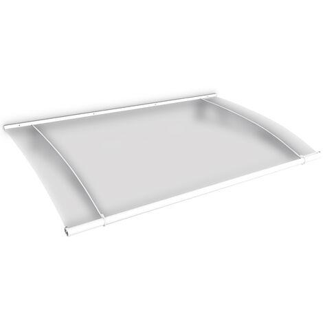 Marquise auvent de porte, 150 x 95 cm, LT-Line, opaque, fixation blanche