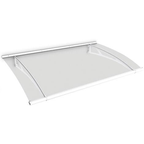 Marquise auvent de porte, 150 x 95 cm, LT-Line, transparent, fixation blanche, Inova