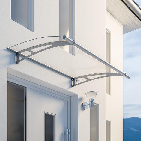 Marquise auvent de porte, 150 x 95 cm, LT-Line, transparent, fixations inox