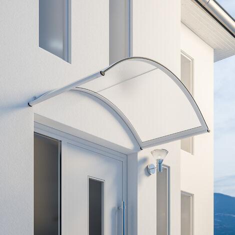 Marquise auvent de porte, 160 x 90 cm, Basic, polycarbonate avéolaire transparent, fixations blanches