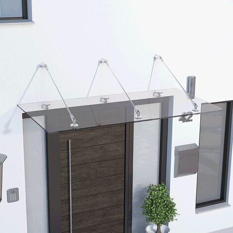 Marquise auvent de porte, 160 x 90 cm, Davita, verre véritable 12 mm, fixations inox