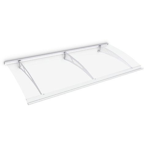 Marquise auvent de porte, 200 x 90 cm, Style Plus, polycarbonate transparent, fixations en acier blanc, Classic
