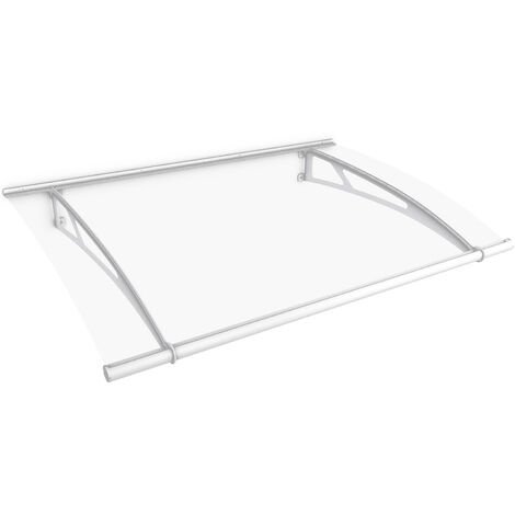 Marquise auvent de porte XL, 205 x 142 cm, transparent, fixations blanches