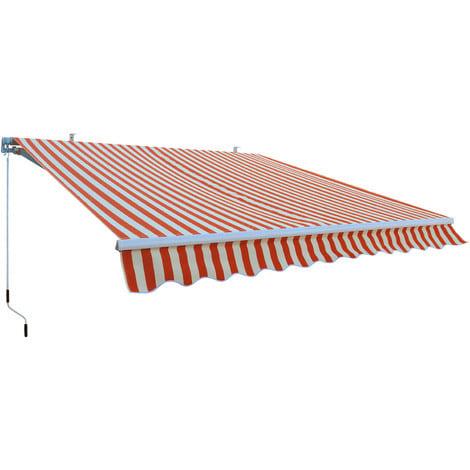 Marquise extérieure orange - auvent 3 x 2,5 m - Alu et tissu hydrofuge