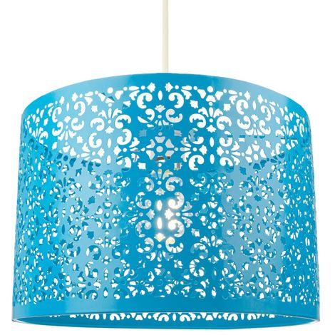 Marrakech Designed Matt Teal Metal Pendant Light Shade with Floral Decoration by Happy Homewares