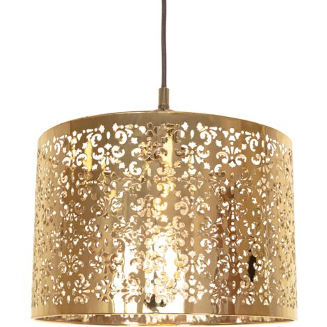 Marrakech Designed Shiny Gold Metal Pendant Light Shade with Floral Decoration by Happy Homewares