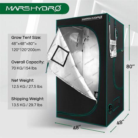 "main image of ""Mars Hydro 120x120x200cm Grow Tent Reflective Mylar Non Toxic Indoor Box Room - Black"""