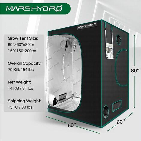 "main image of ""Mars Hydro 150x150x200cm Reflective Mylar 1680D Grow Tent Indoor Plant Room Box - Black"""