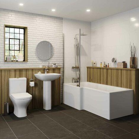 Marseille Bathroom Suite - L Shaped Shower Bath - Left Hand