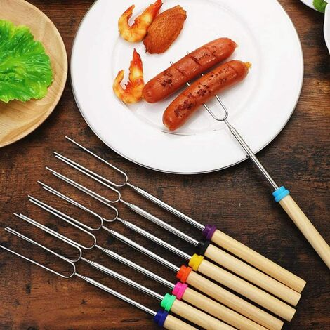 """main image of """"Marshmallow Smores Roasting Sticks 7Pack S'Mores Skewers Hot Dog Stick for Fire Pit Extendable Barbecue Grill Forks for Campfire, 32inch"""""""