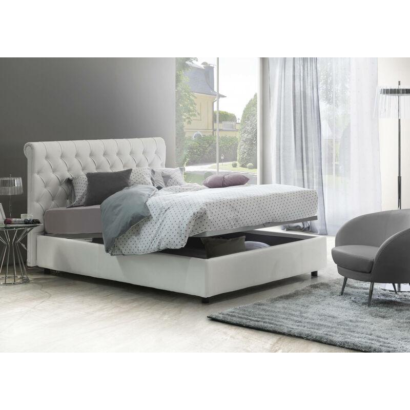 Talamo Italia - MARTA DOPPELBETT MIT Bettkasten, ECOP. Weiß + MAT.ARMONY Farbe Weiß