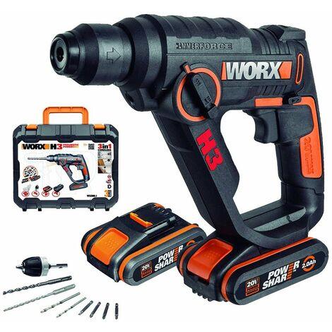 Martello perforatore 3 in 1 Worx WX390.1 con batterie 2x20V - -