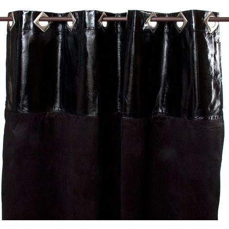 MARTIAL - <p>Rideau en faux cuir et suédine noir 140x250</p> - Noir