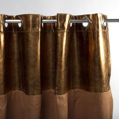 MARTIAL - <p>Rideau faux cuir métallisé cuivre et suédine marron 140x250</p> - Orange