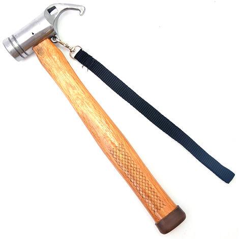 Martillo de acero multifuncional para exteriores, tienda de campana, martillo extractor de unas con mango de madera, martillo de seguridad