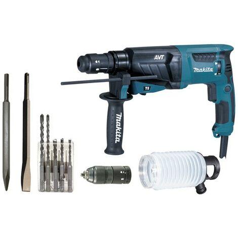 Martillo perforador cincelador MAKITA SDS Plus - 800W 26mm - Arcón de aluminio + Kit de accesorios - HR2631FTX4