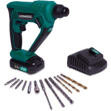 Martillo rotativo VONROC - VPower 20V - Excl. Batería y cargador - 1,3 Joule - SDS-plus - Incluye accesorios y bolsa de herramientas