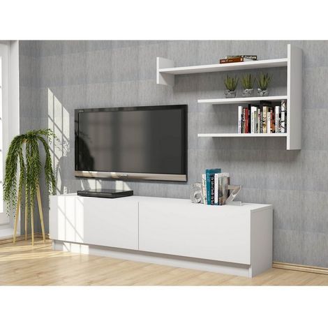 Martin TV Stand - with Doors, Shelves - for Living Room - White, made in Wood, 160 x 33,6 x 40 cm