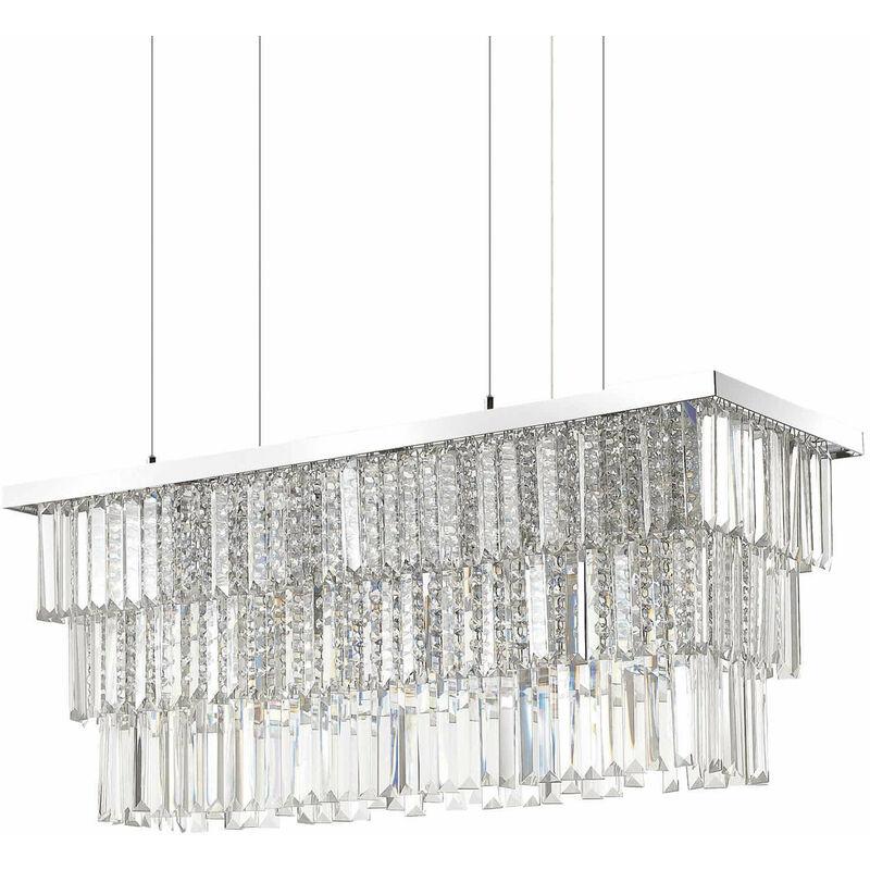 01-ideal Lux - MARTINEZ Chrom Kristall Pendelleuchte 6 Lampen