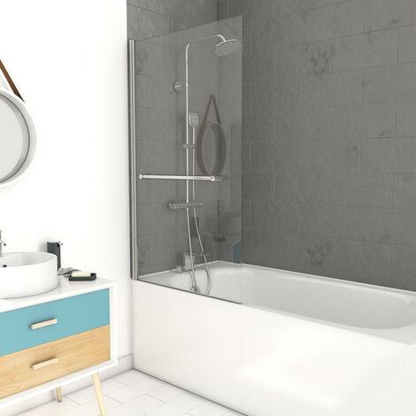 MARWELL Badewannentrennwand Central 1-flügelig 85 x 150 cm-aus 6 mm Einscheibensicherheitsglas-verchromten Handtuchhalter-Anschlag links und rechts möglich