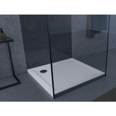 """main image of """"MARWELL Duschwanne quadratisch Pure hochwertige Duschtasse aus Sanitär-Acryl, passend für Duschabtrennungen mit Einer Grundfläche von 90 x 90 cm, weiß, 90 x 90 x 4 cm Abfluss"""""""