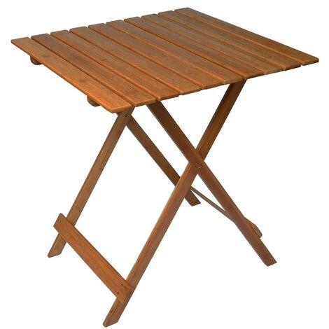 MAS116 Mesa plegable 80 x 60 cm en madera color nogal plegable para jardín
