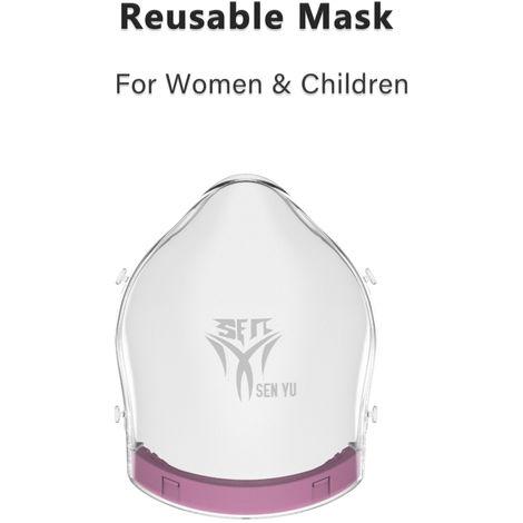 Mascara facial, Mujeres Ninos, reutilizable Mascara Dotados 2 Filtro, rojo