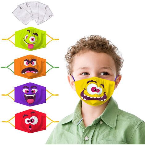 Mascarilla facial de tela para ninos de 5 piezas con filtro Resuable, lavable, suave, transpirable, de 3 capas, de seguridad, contra el polvo, mascaras faciales de carton con orejeras elasticas, anticontaminacion para actividades al aire libre en el hogar