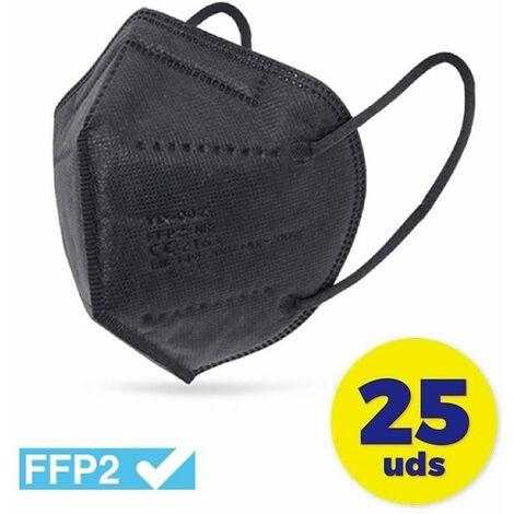 MASCARILLA FFP2 NEGRA * CN (CAJA 25 UDS)