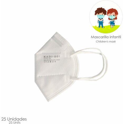 Mascarilla FFP2 Plegable Niños (Infantil) Blanca Caja 25 Unidades (Envasada Individualmente)