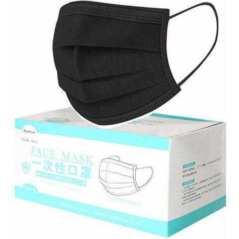 Mascarilla Protección 3 Capas 50 unidades Transpirables con Elástico para Los Oídos (50, negro, Adulto)