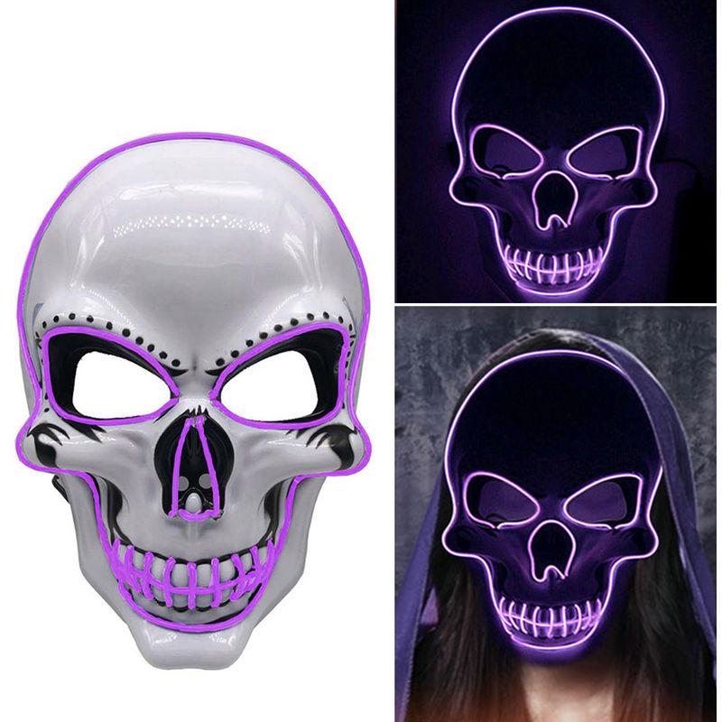 Image of LED d'ardore della mascherina della mascherina fluorescente Halloween Party Spaventoso Maschera divertente Maschera Maschera Costume Puntelli Prom