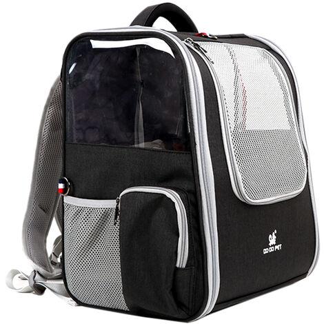 Mascota perro gato mochila de viaje bolsa de viaje Disenado para uso al aire libre Senderismo Caminar a 7,5 kg Peso dentro, gris oscuro
