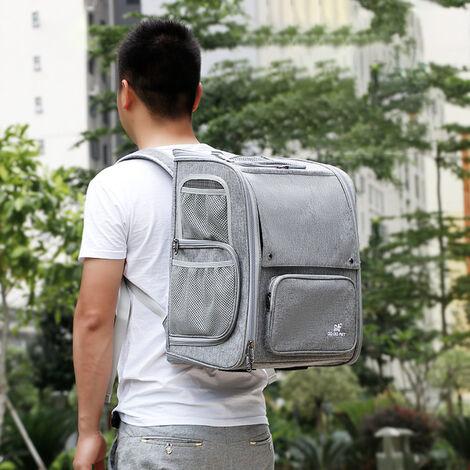 Mascota perro gato mochila de viaje bolsa de viaje Disenado para uso al aire libre Senderismo Caminar de 9 kg de peso, gris