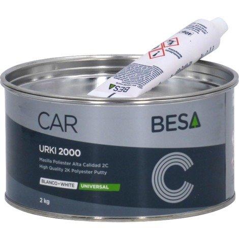 Masilla poliéster 2C URKI-2000 Blanco 2KG BESA