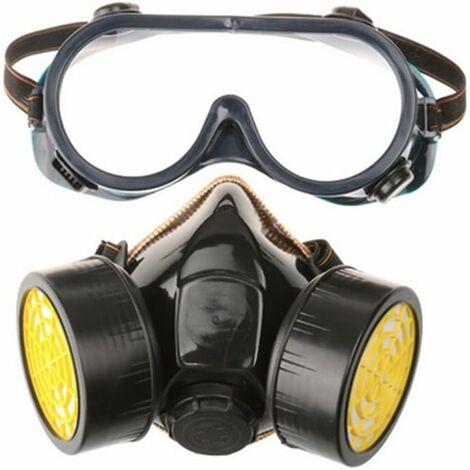 Masque à gaz professionnel masque de peinture au charbon actif respirateur avec 2 filtres anti-poussière, pesticides, formaldéhyde, laque colorée