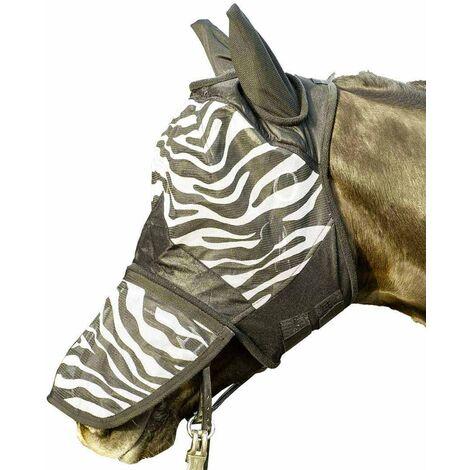 Masque anti-mosque pour chevaux modèle zèbre anti-déchirure HKM Classic