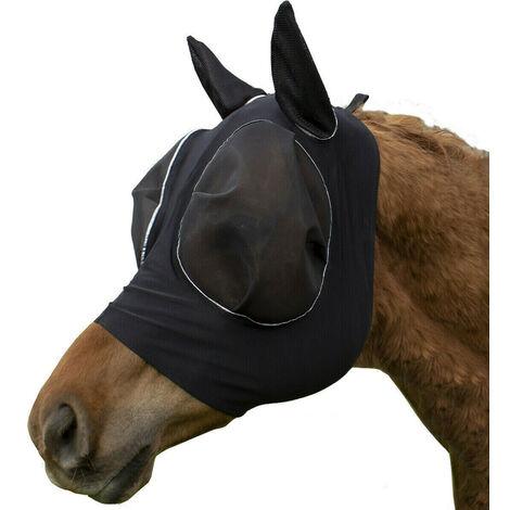 Masque anti-mouches pour chevaux doux avec maille intégrale UV noir Pour poney